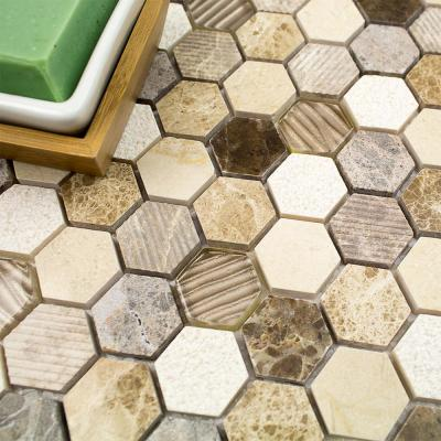 Drumlin Win Drift Hexagon 11.25 in. x 10.87 in. x 8mm Honed Marble and Glass Mosaic Tile