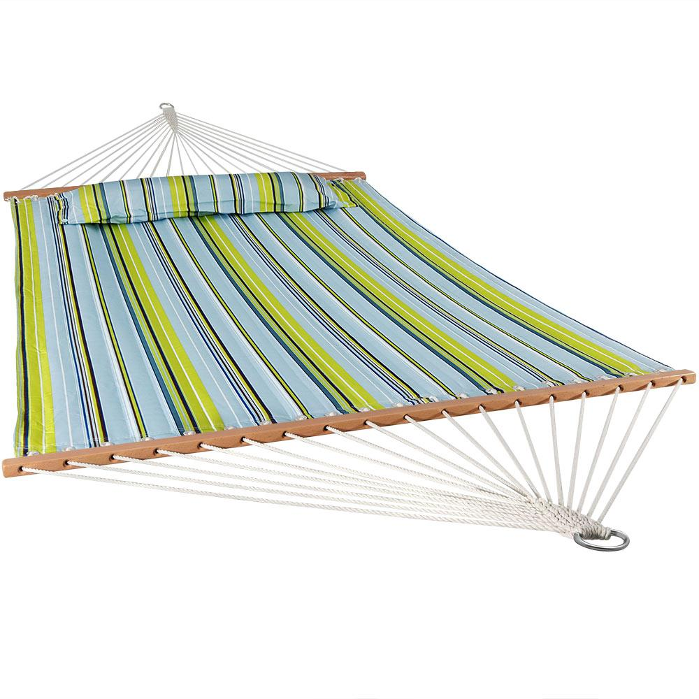 11-3/4 ft. Quilted Double Fabric 2-Person Hammock in Blue and Green