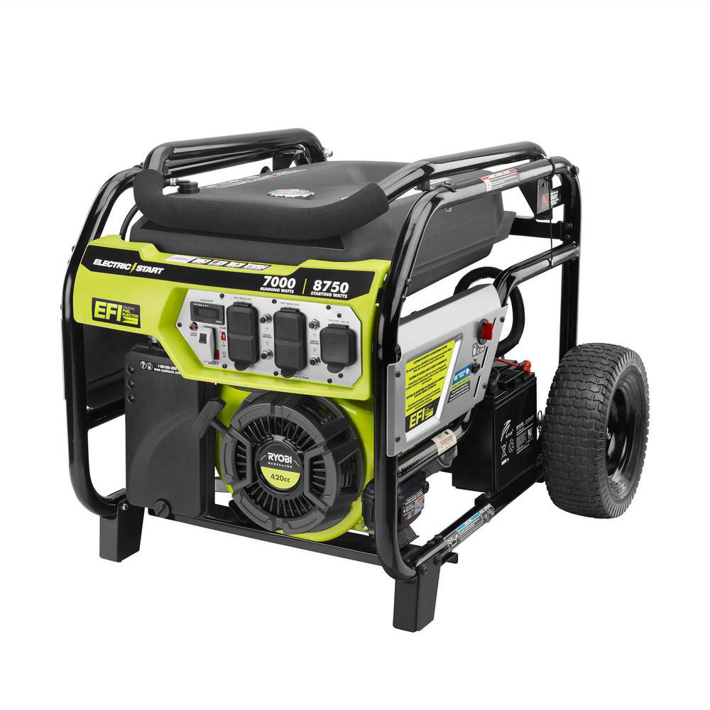 RYOBI 7,000 Running Watt Electronic Fuel Injected Gasoline Powered Electric  Start Portable Generator with CO Shutdown Sensor