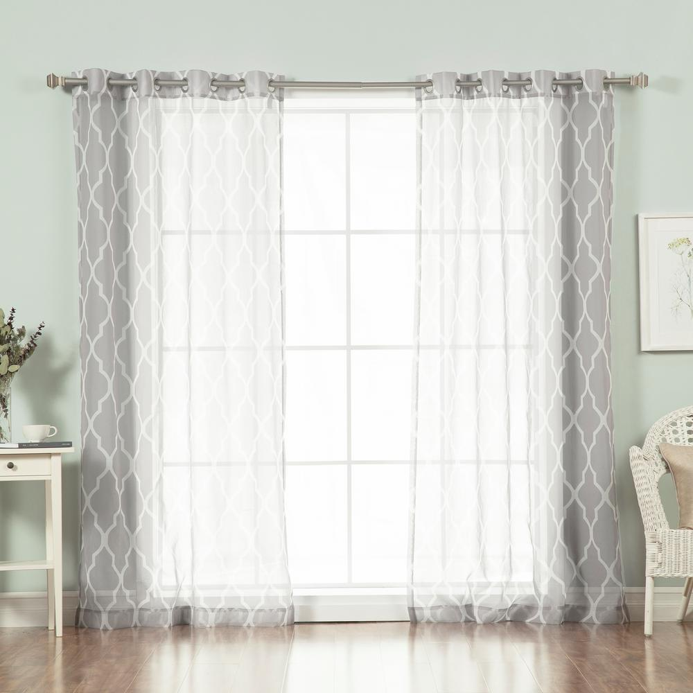 L Sheer Moroccan Curtains In Grey 2 Pack