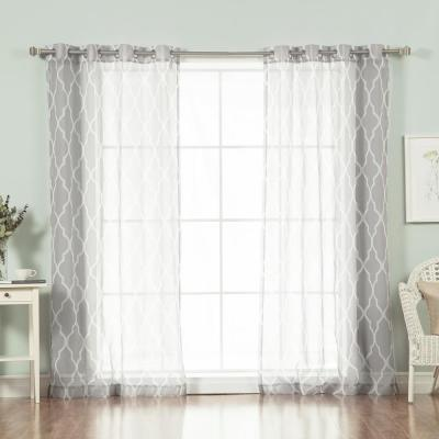 96 in. L Sheer Moroccan Curtains in Grey (2-Pack)