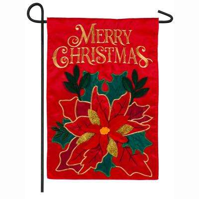 18 in. x 12.5 in. Christmas Poinsettia Garden Applique Flag