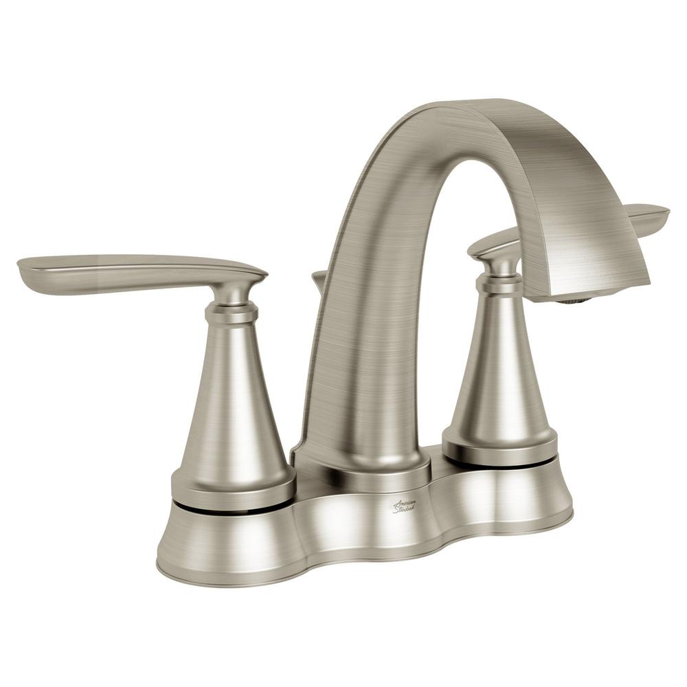 American Standard Somerville 4 in. Centerset 2-Handle Bathroom Faucet with Pop-Up Drain in Brushed Nickel