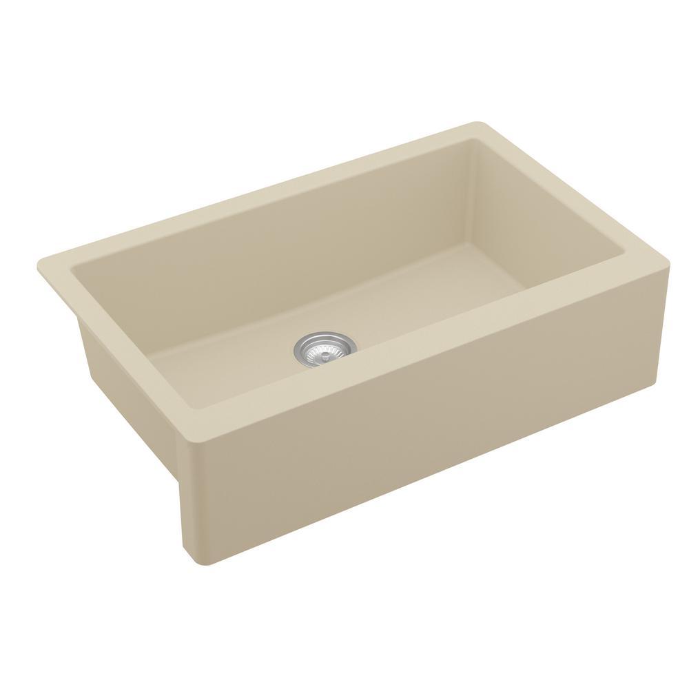 Farmhouse/Apron-Front Quartz Composite 34 in. Single Bowl Kitchen Sink in Bisque