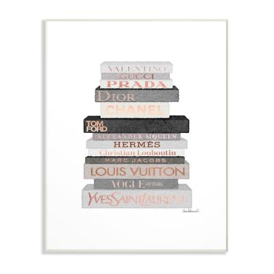 """10 in. x 15 in. """"Neutral Grey and Rose Gold Fashion Bookstack"""" by Amanda Greenwood Wood Wall Art"""