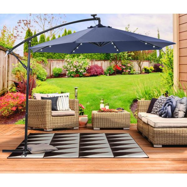 Sun Ray 10 Ft Round Cantilever Solar Powered Patio Umbrella In Navy 841046 The Home Depot