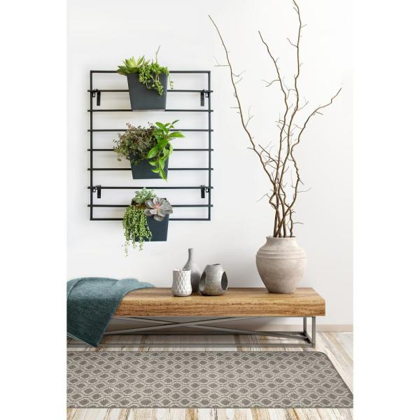 Modliv 25 In W X 32 In H Black Metal Vertical Wall Planter Rack Mt1005177cm The Home Depot