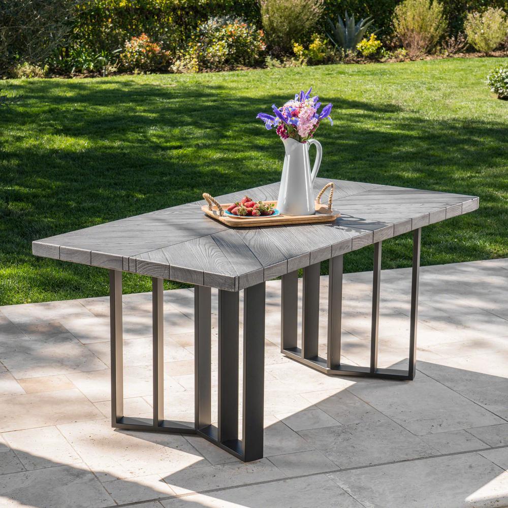 Verona Gray Oak Rectangular Outdoor Textured Light Weight Concrete Dining Table