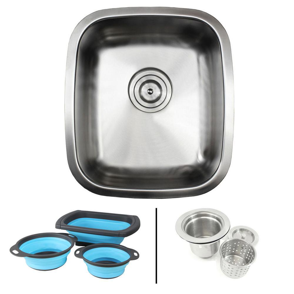 15 Contemporary Kitchen Designs With Stainless Steel: EModernDecor Undermount 18-Gauge Stainless Steel 15-7/8 In