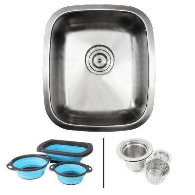 Undermount 18-Gauge Stainless Steel 15-7/8 in. Single Bowl Kitchen / Bar Sink in Satin Pearl with Silicone Colanders