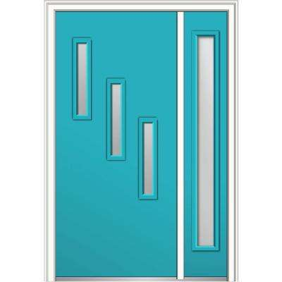 50 in. x 80 in. Davina Frosted Glass Left-Hand 3-Lite Modern Painted Fiberglass Smooth Prehung Front Door with Sidelite