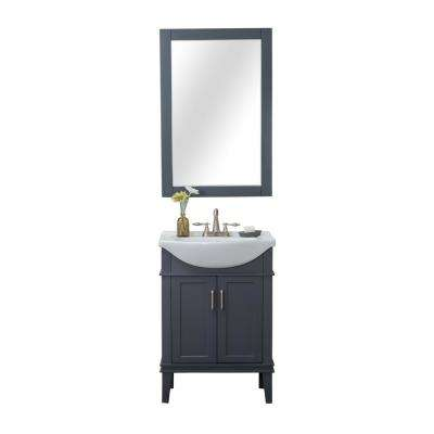 Seattle 24 in. W x 17.5 in. D x 34.75 in. H Vanity in Gray with Porcelain Vanity Top in White with White Basin