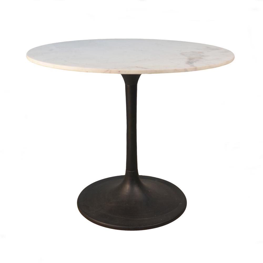 Enzo Black Round Marble Top Dining Table Mt3636 Blk The Home Depot