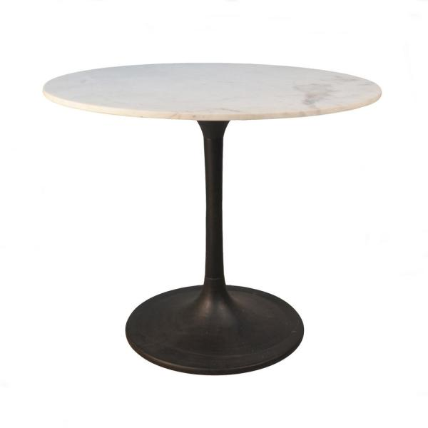 225 & 36 in. Enzo Black Round Marble Top Dining Table