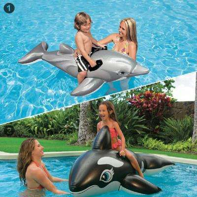 Dolphin and Jumbo Whale Ride-On Pool Inflatable Combo (2-Pack)