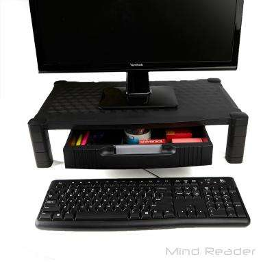 Extra Wide Plastic Monitor Stand Computer Riser with Drawer in Black