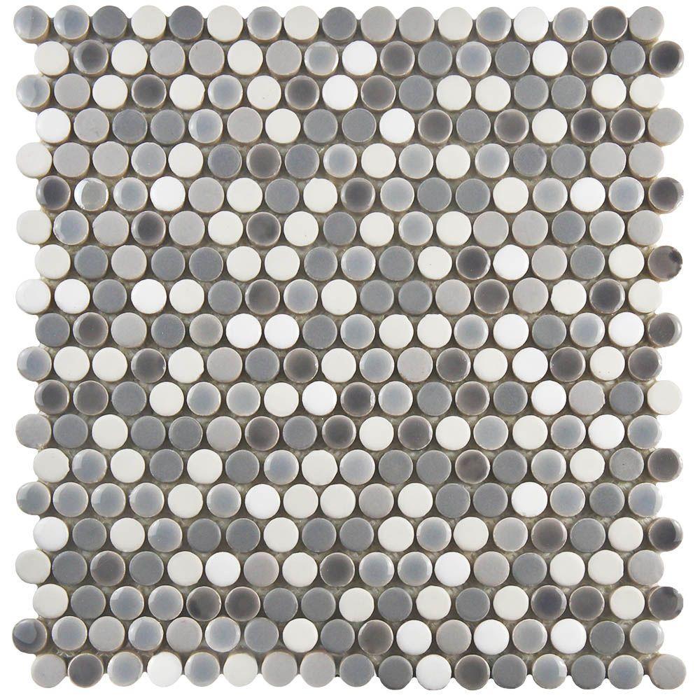 Merola Tile Comet Penny Round Luna 11 1 4 In X 11 3 4 In X 9 Mm Porcelain Mosaic Tile Fshcomlu