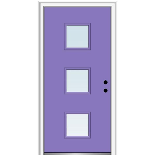 Mmi Door 30 In X 80 In Aveline Left Hand Inswing 3 Lite Clear Low E Glass Painted Steel Prehung Front Door On 6 9 16 In Frame Z0354092l The Home Depot