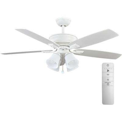 Devron 52 in. LED Indoor Matte White Smart Ceiling Fan with Light Kit and WINK Remote Control