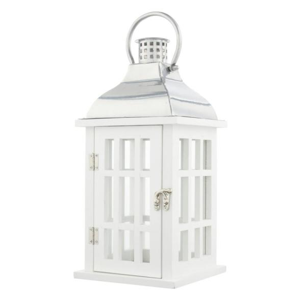 """Candle Lantern White Wood Galvanized Metal Top 14.5/"""" Tall x 6/"""" Wide Glass sides"""