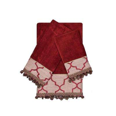 Ascot Ruby Red Decorative Embellished Towel Set (3-Piece)