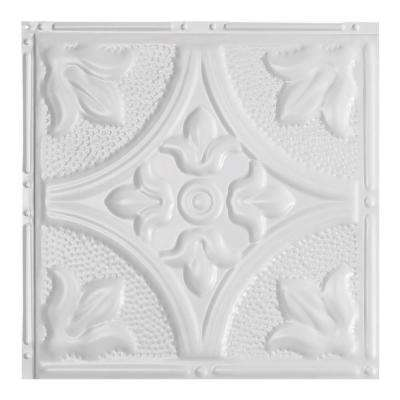 Jamestown Gloss White 12 in. x 12 in. Nail-Up Ceiling Tile Sample