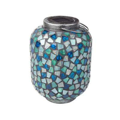 10 in. Cool Blue Mosaic 1-Light Integrated LED Solar Candle Lantern