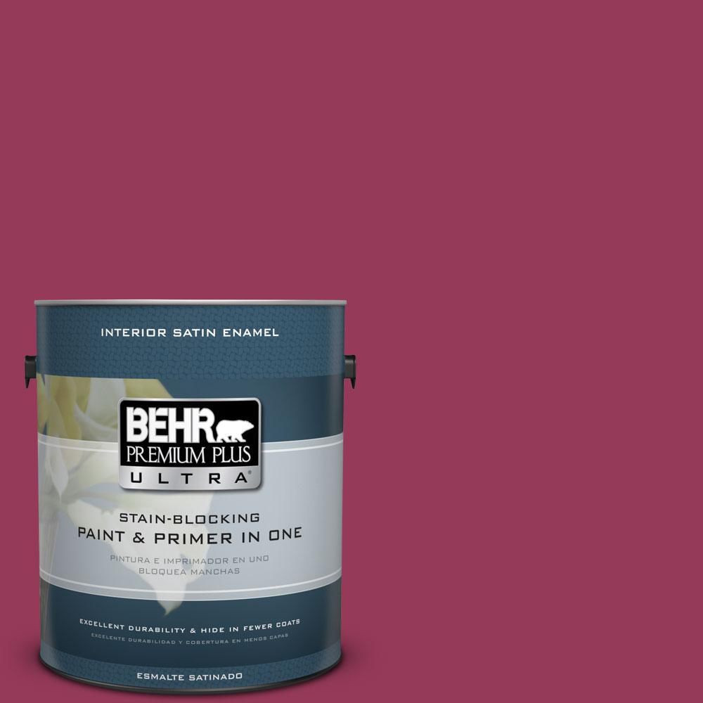 BEHR Premium Plus Ultra 1-gal. #110B-7 Raspberry Pudding Satin Enamel Interior Paint