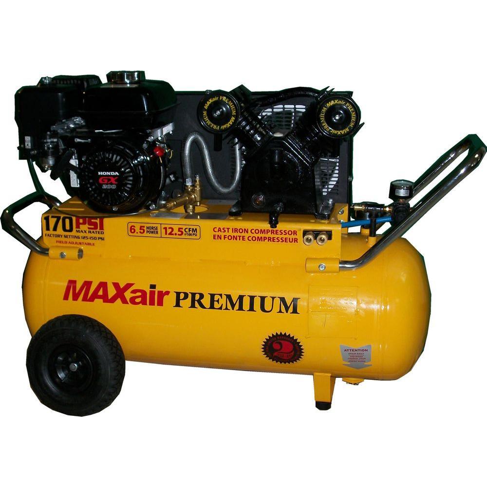 Maxair Premium Industrial 25 Gal. 6.5 HP Gas Honda Portable Horizontal Air Compressor by Maxair