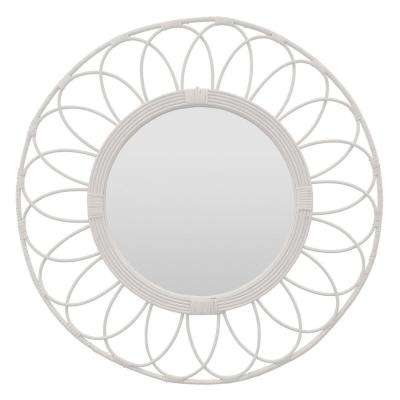 32 in. Natural White Fiber Rattan Mirror