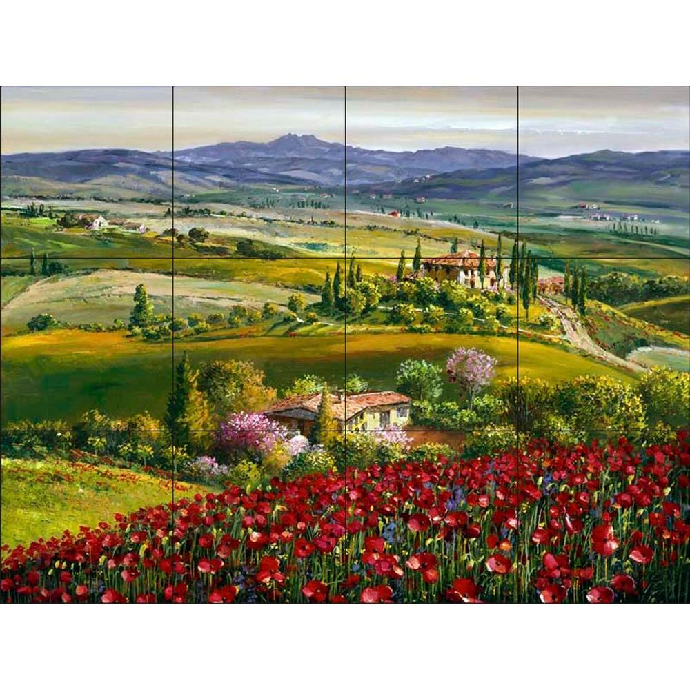 The Tile Mural Store Tuscan Poppy 24 In. X 18 In. Ceramic Mural Wall Part 63