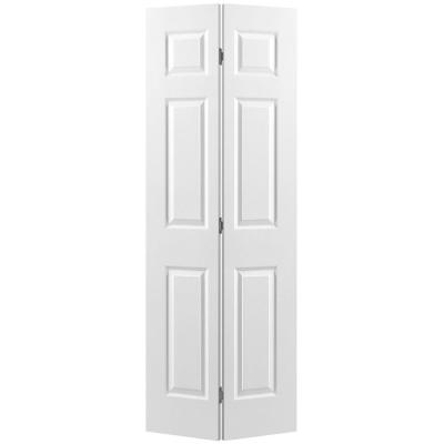 24 in. x 80 in. Textured 6-Panel Primed Hollow Core Composite Bi-fold Interior Door