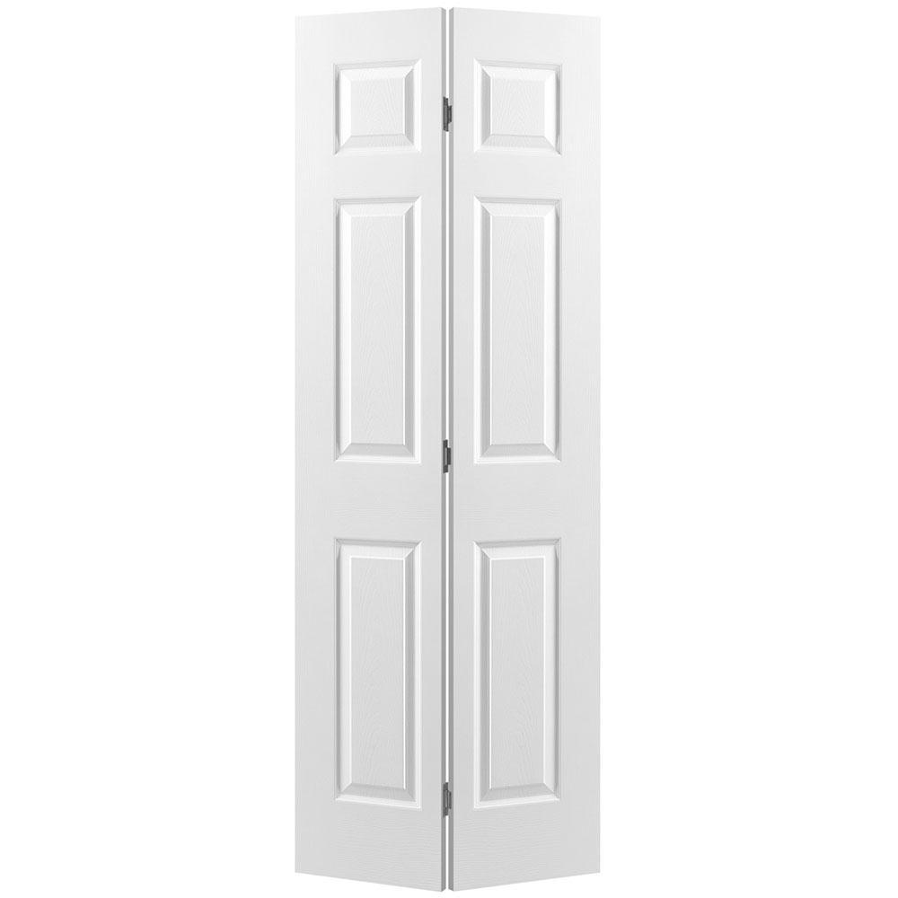 24 in. x 80 in. Textured 6-Panel Primed Hollow Core Composite Bi-fold Interior Door