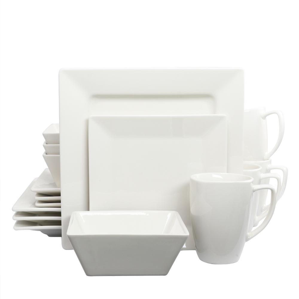 White Diamond 16-Piece White Dinnerware Set