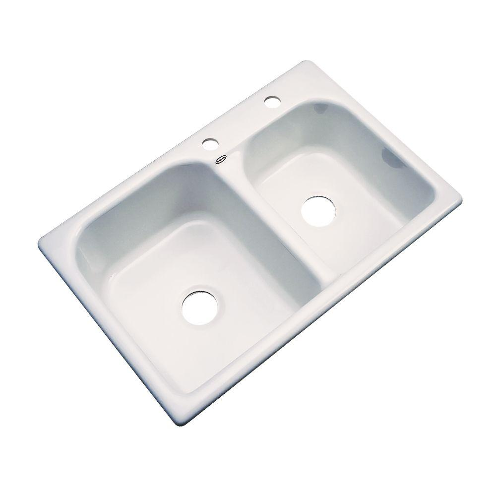 Cambridge Drop-In Acrylic 33 in. 2-Hole Double Bowl Kitchen Sink in