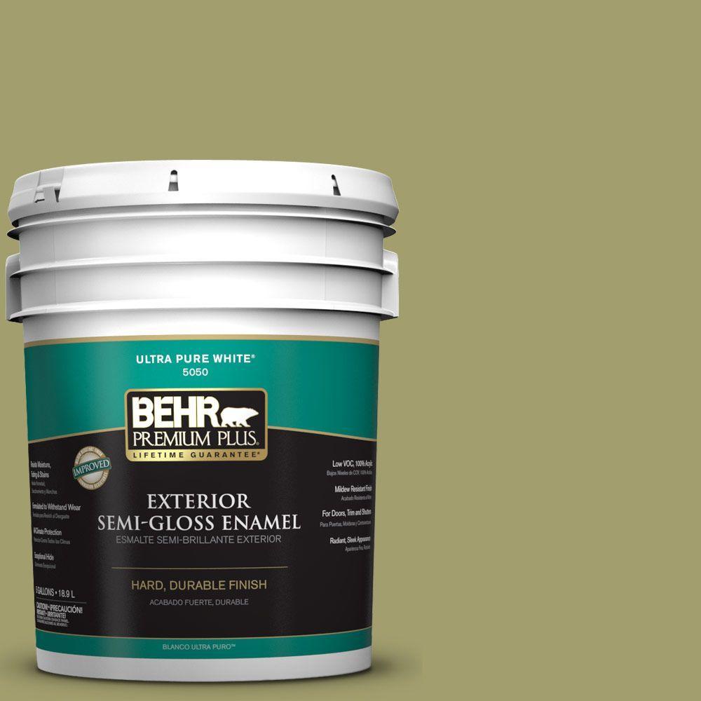 BEHR Premium Plus 5-gal. #S340-5 Farm Fresh Semi-Gloss Enamel Exterior Paint, Greens