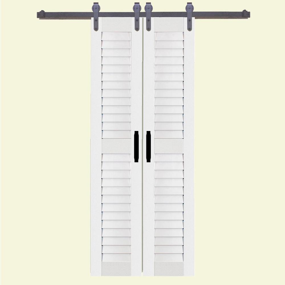 36 in. x 84 in. Louver/Louver White PVC Composite Split Barn Door