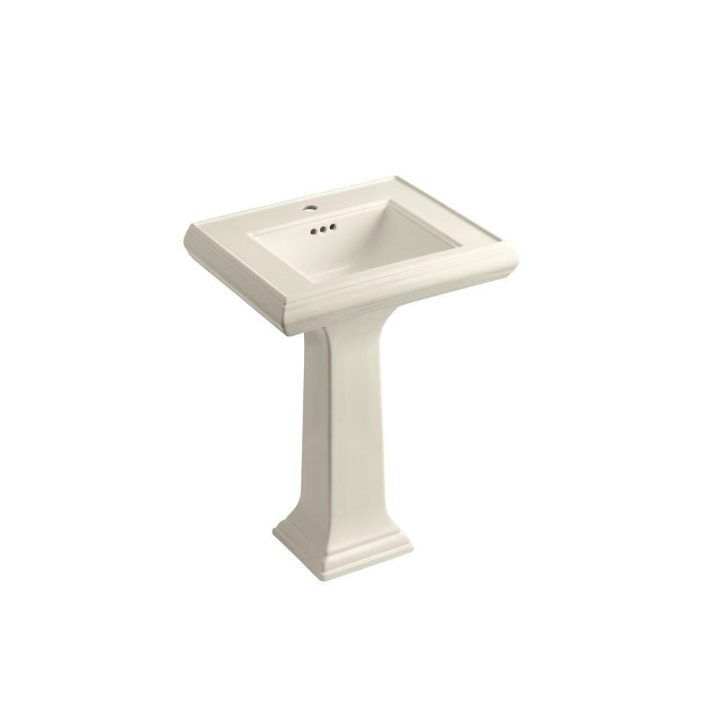 KOHLER Memoirs Ceramic Pedestal Combo Bathroom Sink in Almond with Overflow Drain