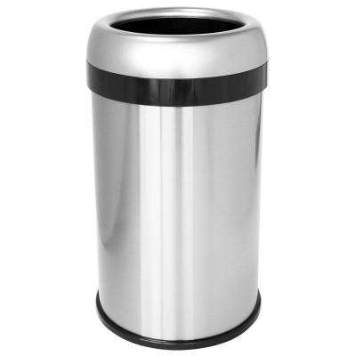 Dual-Deodorizer Round Open Top Fingerprint-Proof Stainless Steel Trash Can, 50 l / 13 Gal., Commercial Grade