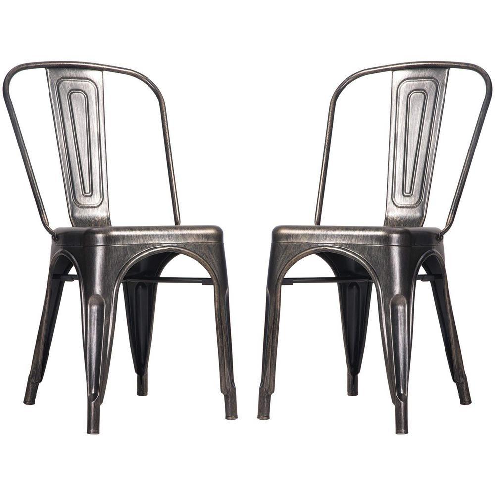 Golden Black Metal Dining Chair (Set of 2)