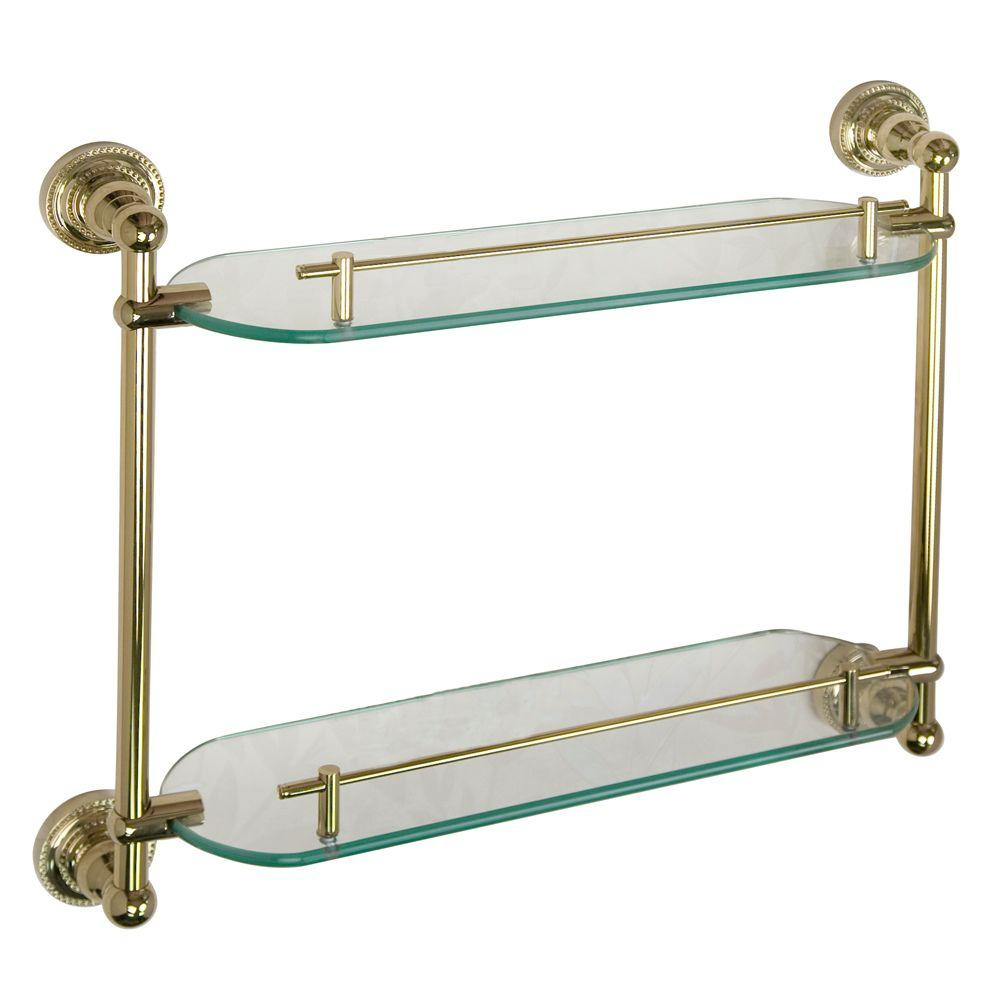 Barclay Products Nevelyn 19-1/4 in. W Double Shelf in Glass and Polished Brass