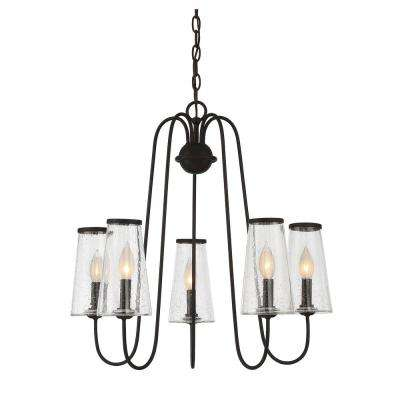 5-Light English Bronze Outdoor Hanging Chandelier with Clear Seeded Glass Shade