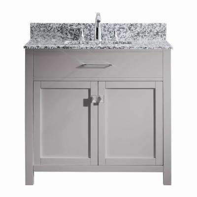 Caroline Madison 36 in. W x 22 in. D Bath Vanity in Cashmere Grey with Granite White Vanity Top and White Square Sink