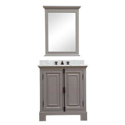 Greenwich 30 in. W x 22 in. D Vanity in Gray with Marble Vanity Top in White with White Basin and Mirror