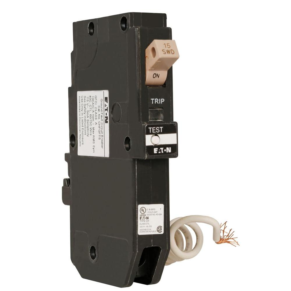 Eaton Type CH 15 Amp 3/4 in. Single Pole Ground Fault Circuit ...