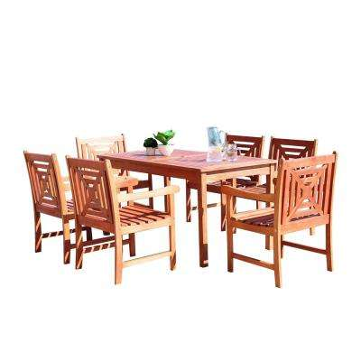 Malibu 7-Piece Wood Rectangle Outdoor Dining Set