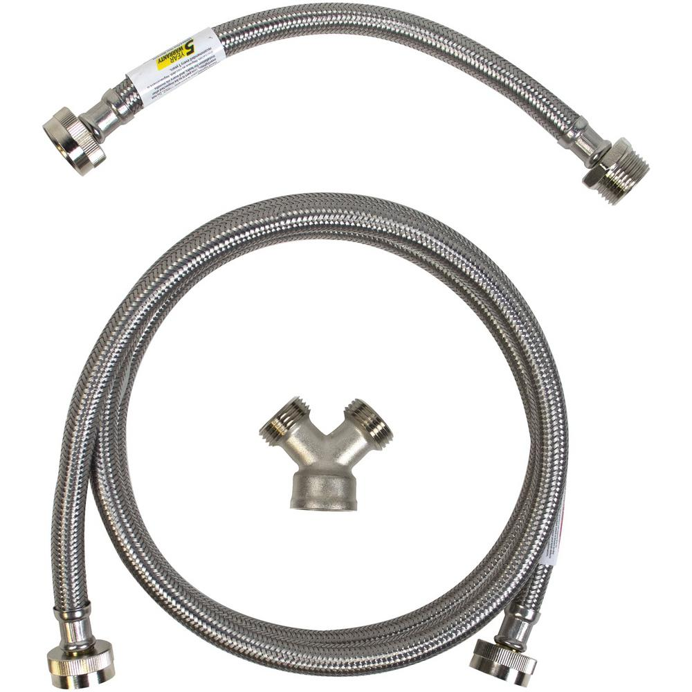 CERTIFIED APPLIANCE ACCESSORIES 6 ft. Braided Stainless Steel Steam Dryer Installation Kit, Silver For years, licensed plumbers, electricians and appliance installers have relied on CERTIFIED APPLIANCE ACCESSORIES for their power cords, hoses and connectors. Now you can too. Enjoy the convenience offered by this steam dryer installation kit from CERTIFIED APPLIANCE ACCESSORIES. This high-quality kit includes a fill hose, inlet adapter and Y-connector to ensure a flexible, durable and reliable connection for your next home installation project. This kits components have been thoroughly tested and are backed by a 5-year limited warranty. Always consult your appliances installation instructions. Check your appliance's manual for the correct specifications to ensure this kit is right for you. Thank you for choosing CERTIFIED APPLIANCE ACCESSORIES Your Appliance Connection Solution. Color: Stainless Steel.