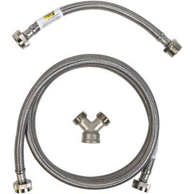 Everbilt 3 4 In X 6 Ft Braided Stainless Steam Dryer Installation Kit 7221 1 Eb The Home Depot