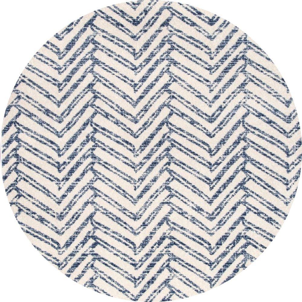 Rosanne Blue 8 ft. Round Geometric Herringbone Indoor Area Rug