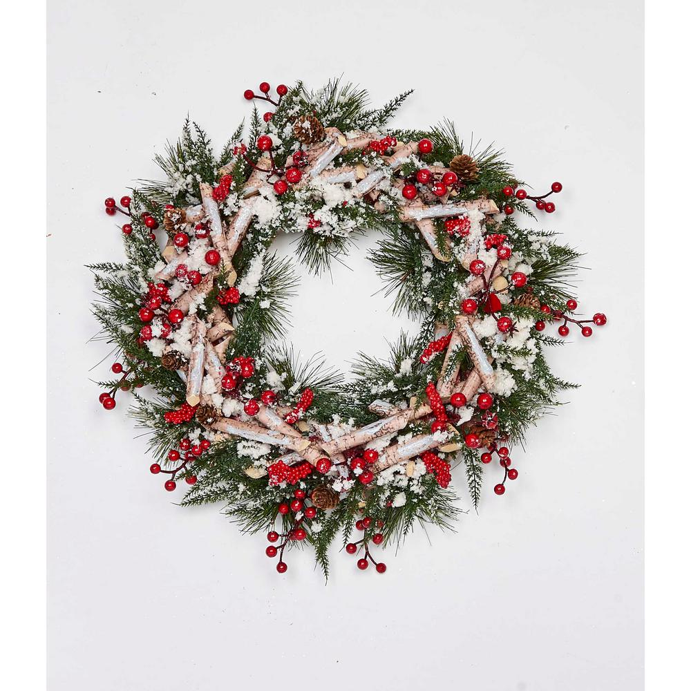 Small Christmas Wreaths.17 In Artificial Birch Log Wreath With Pinecones Cotton And Berries